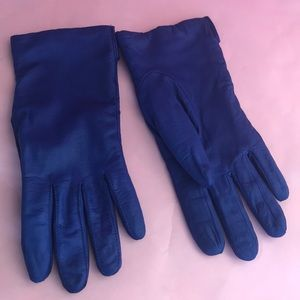 Vintage royal blue leather gloves with lining